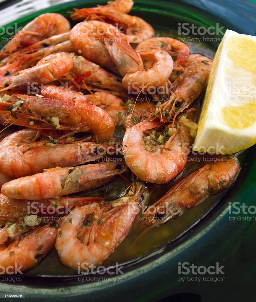 Grilled fresh shrimps royalty-free stock photo