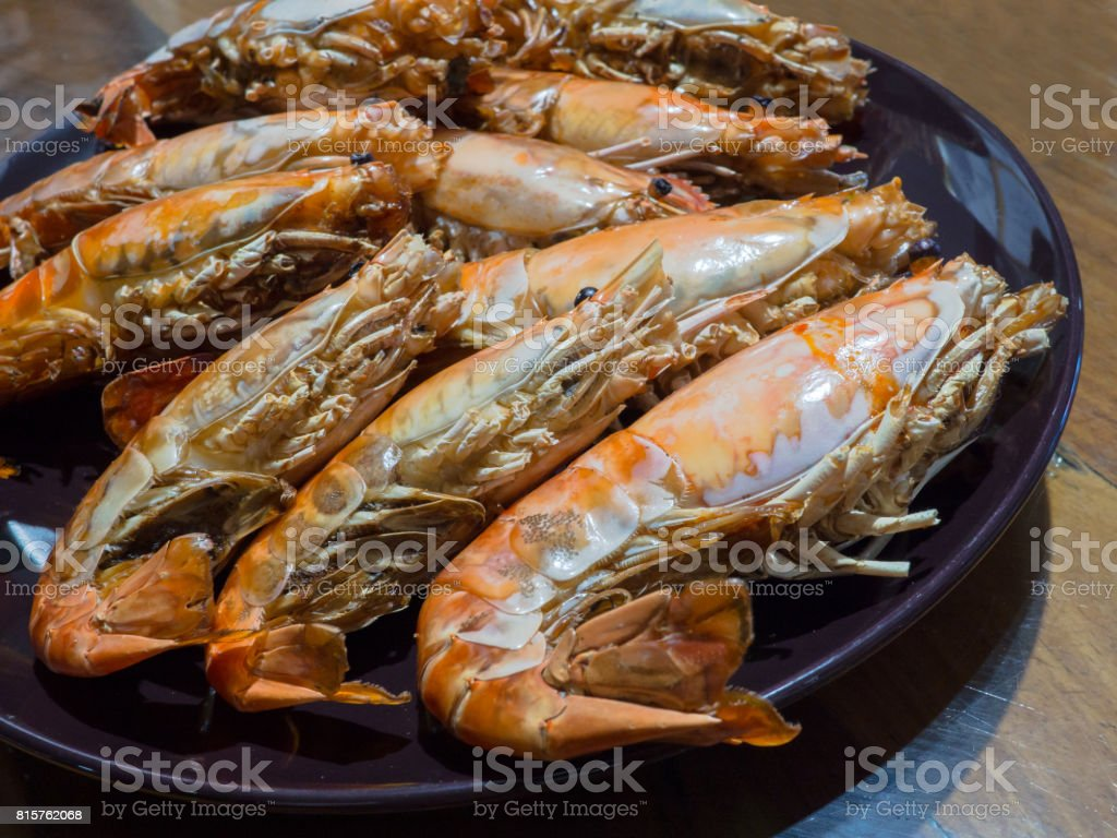 Grilled Giant River Prawn Stock Photo - Download Image Now