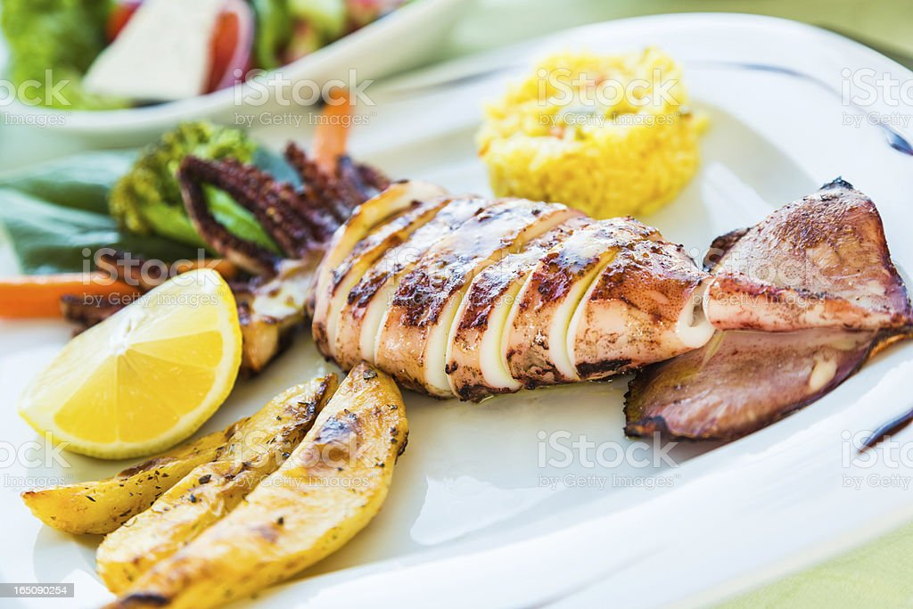 Grilled giant squid royalty-free stock photo