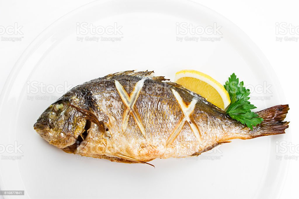 grilled gilthead bream stock photo