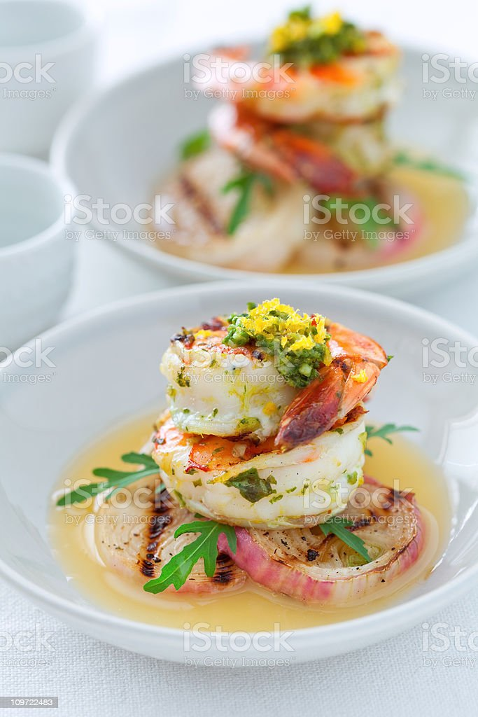 Grilled Gremolata Prawns royalty-free stock photo