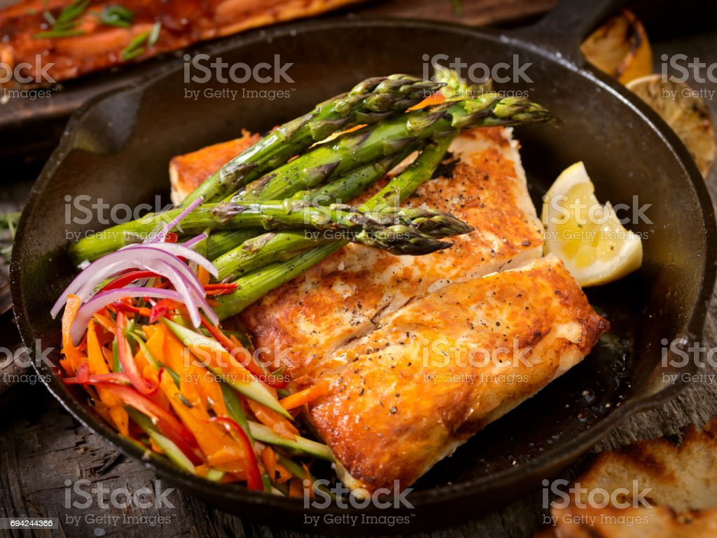 Grilled Halibut stock photo
