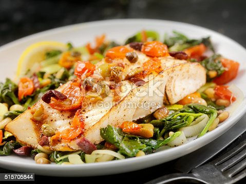 istock Grilled Halibut with Capers,Olives and Tomatoes 515705844