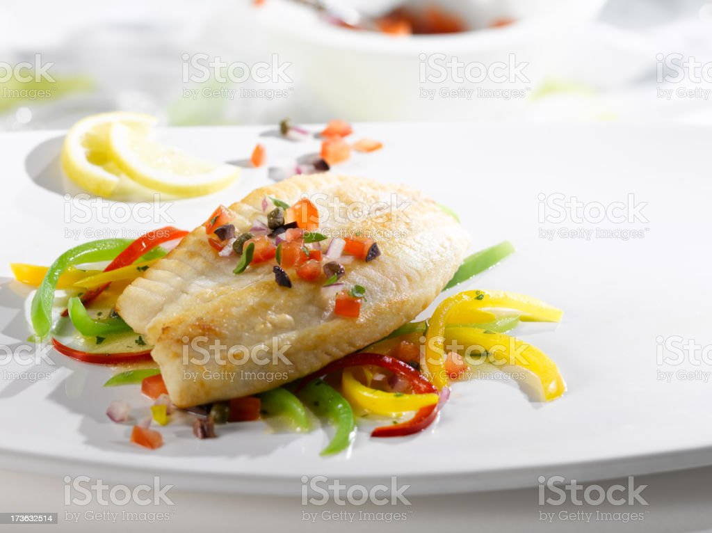 Grilled Halibut with Peppers in the sun stock photo