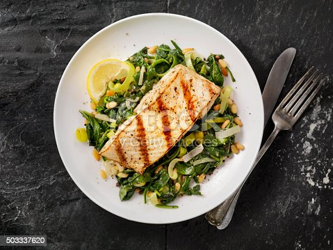 Grilled Halibut with Spinach, leeks and Pine Nuts - Photographed on Hasselblad H3D2-39mb Camera