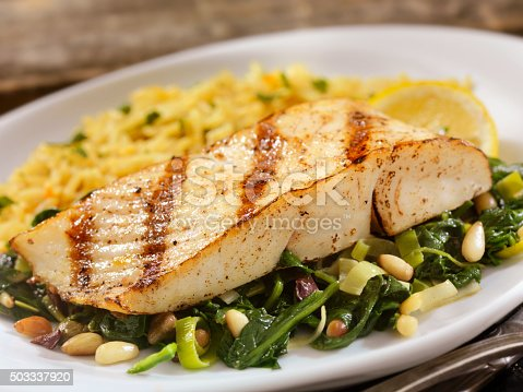 istock Grilled Halibut with Spinach, leeks and Rice 503337920