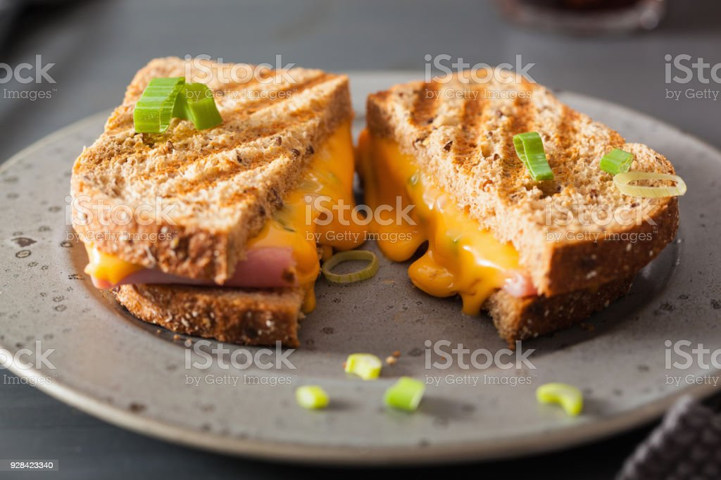 grilled ham and cheese sandwich stock photo