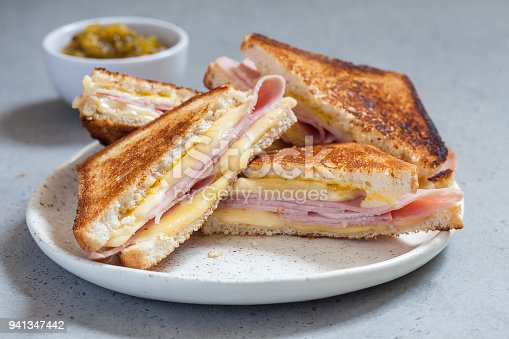 grilled ham and cheese sandwiches golden brown