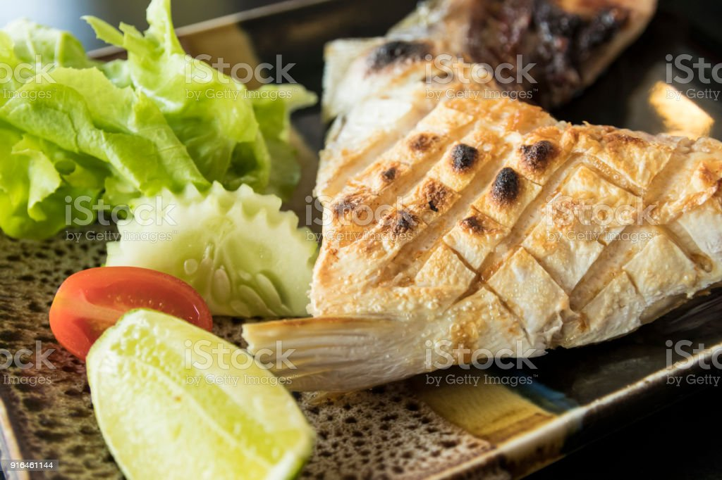 Grilled Hamachi Kama Fish On Plate Japanese Food Stock Photo More