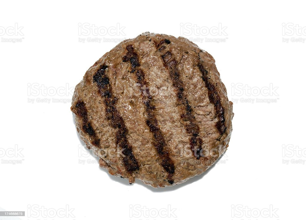 Grilled hamburger patty isloated stock photo