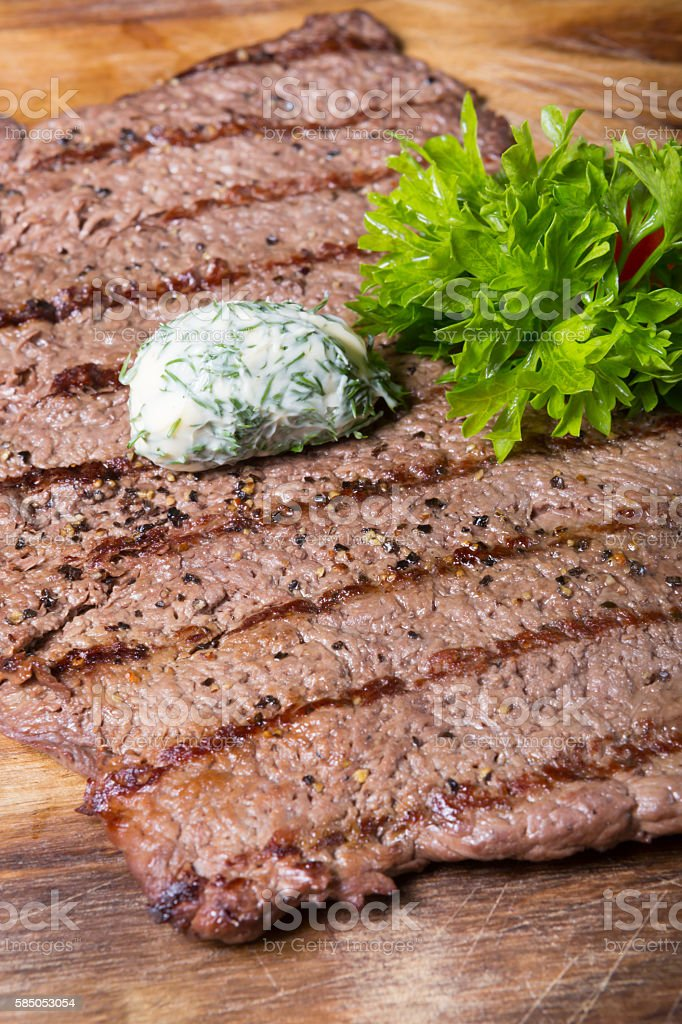 Grilled horse meat steak stock photo