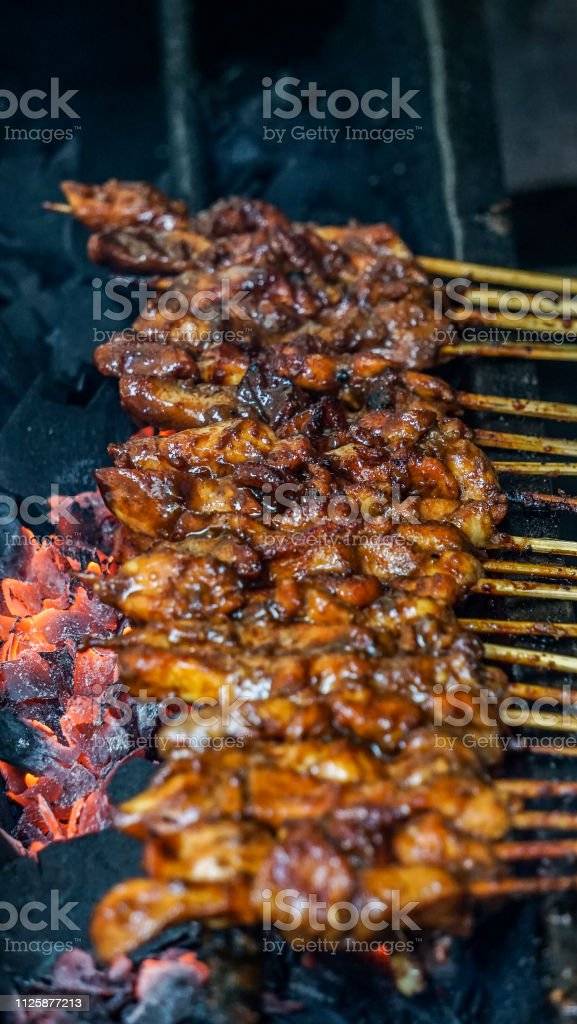 Grilled Indonesia Chicken Satay stock photo