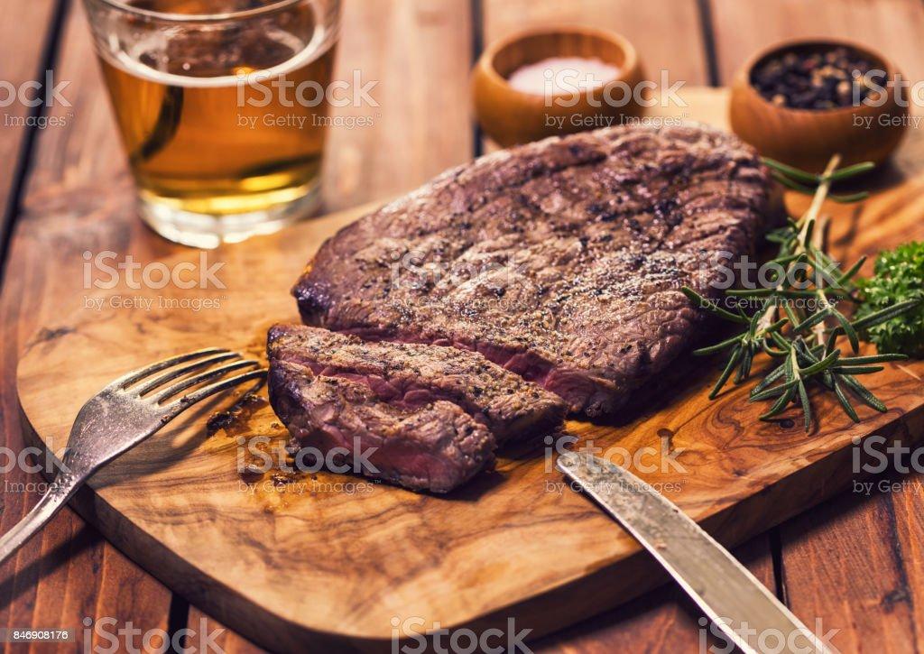 Grilled Juicy Beef Steak stock photo