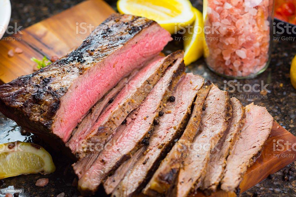 Grilled Juicy  Flank Steak stock photo