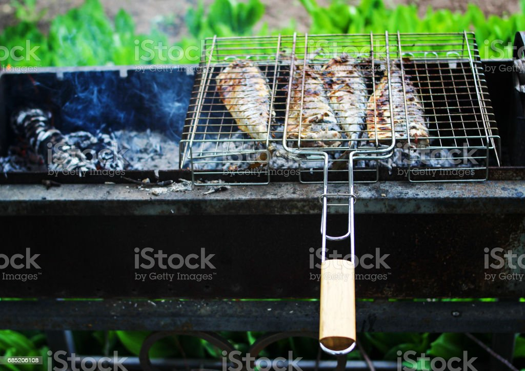 Grilled juicy grilled fish stock photo