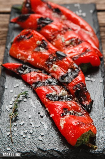 655794674 istock photo Grilled juicy red paprika. Vegetarian food menu. 655811190