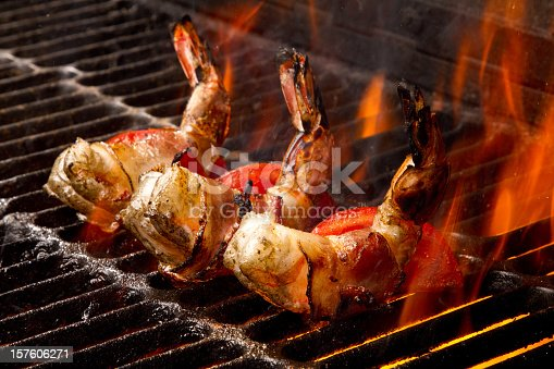 istock Grilled Jumbo Bacon Wrapped Shrimp and Tomatoes 157606271