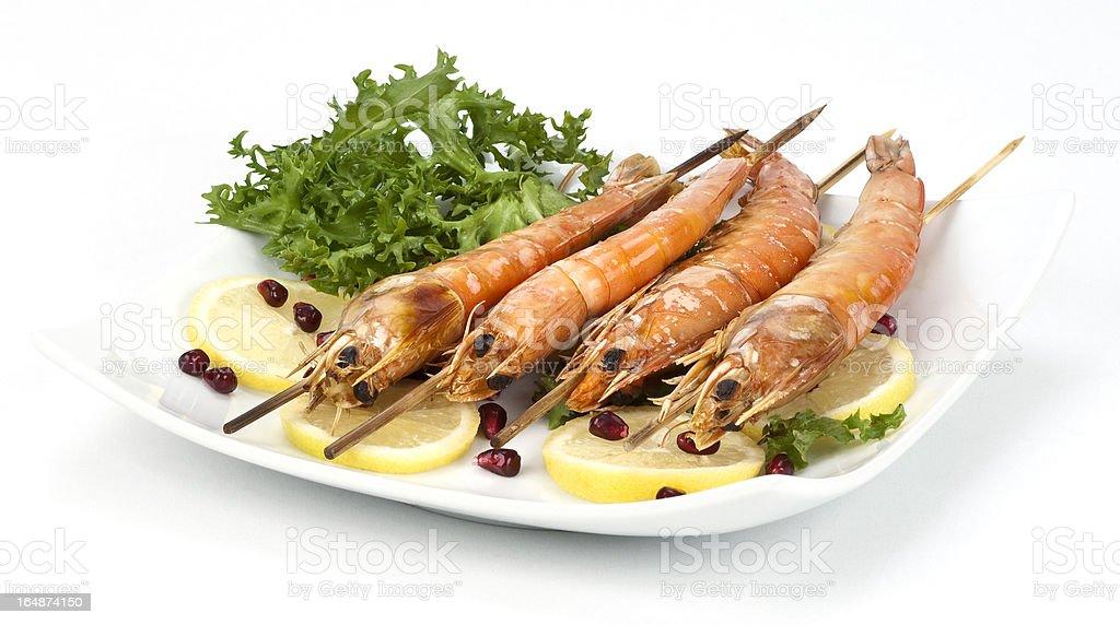 grilled king prawns royalty-free stock photo