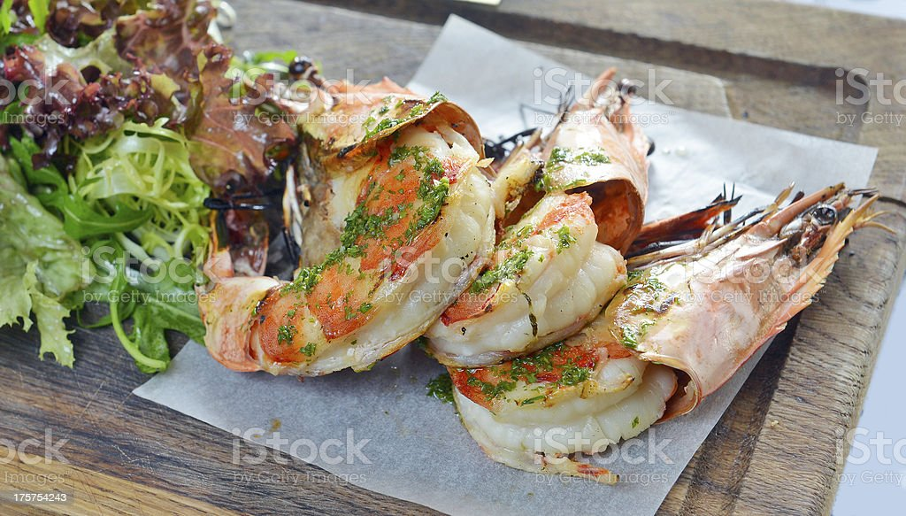 grilled king prawns with salad royalty-free stock photo
