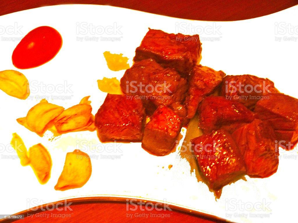 grilled Kobe Miyazaki beef on white plate stock photo