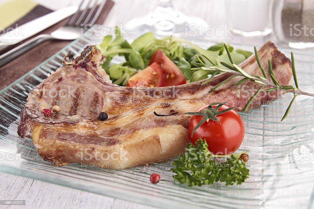 grilled lamb chop with vegetable royalty-free stock photo