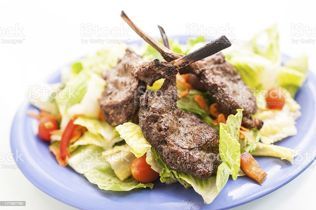 Grilled lamb chops and salad royalty-free stock photo
