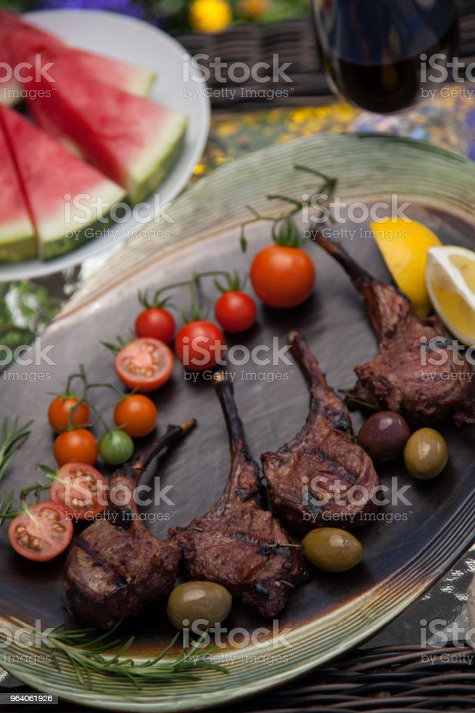 Grilled Lamb Chops In Garden - Royalty-free Barbecue Stock Photo