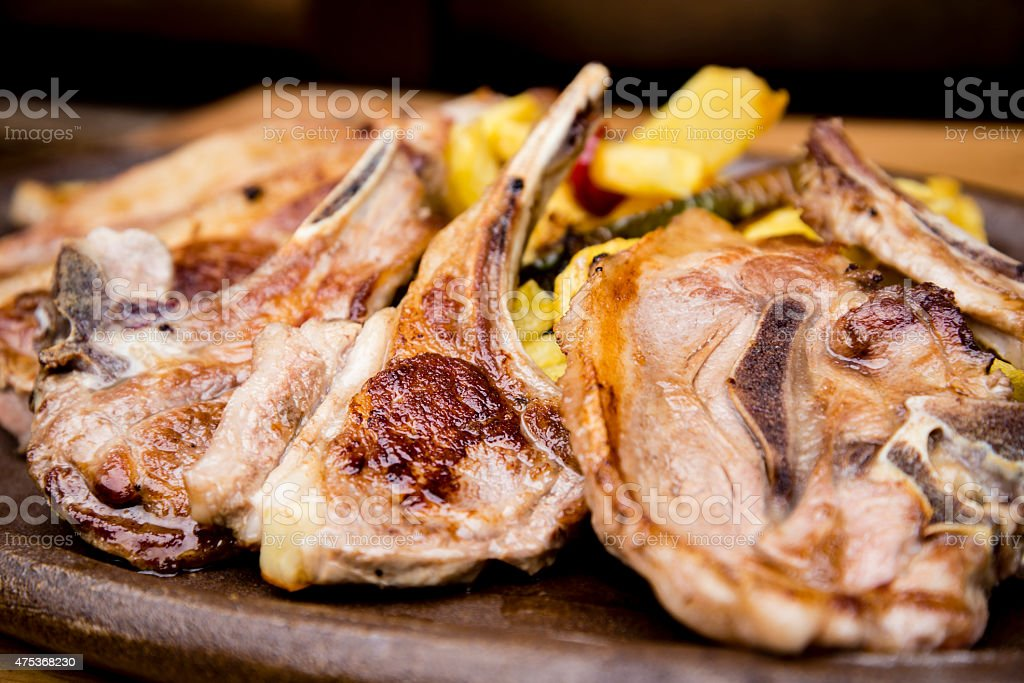 Grilled lamb chops stock photo