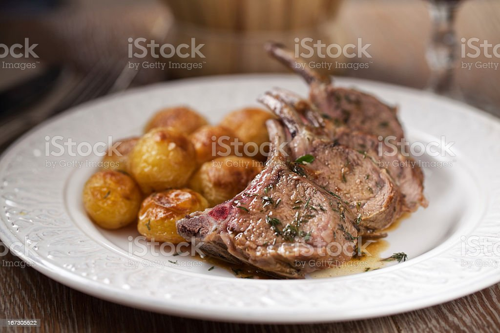 Grilled lamb chops with fries royalty-free stock photo