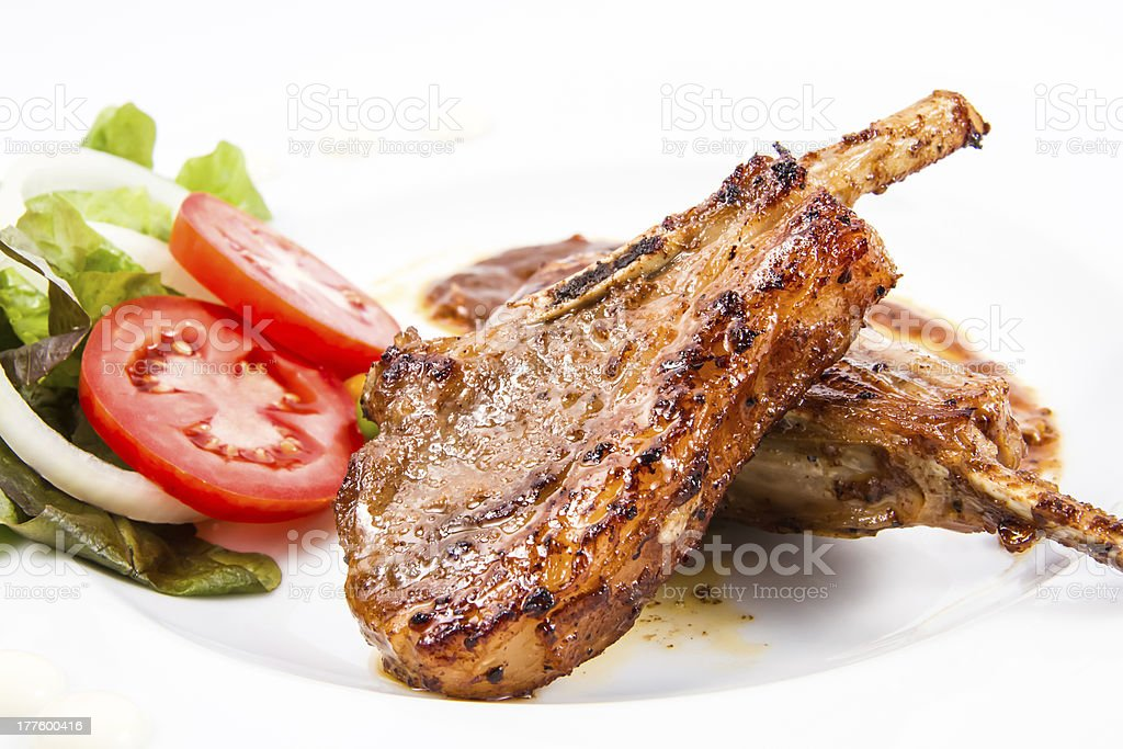 grilled lamb chops  with Vegetables stock photo