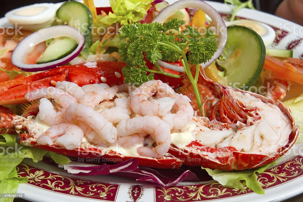 Grilled lobster and fresh shrimps stock photo