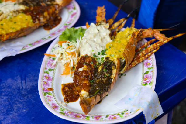 Grilled lobster served at a seafood restaurant stock photo