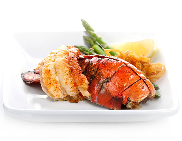 grilled lobster tail - tail stock photos and pictures