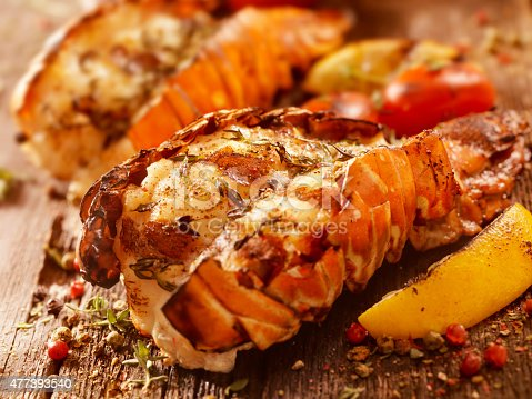 BBQ Grilled Lobster Tails with Fresh Herbs, Grilled Lemon and Tomatoes -Photographed on Hasselblad H3D2-39mb Camera