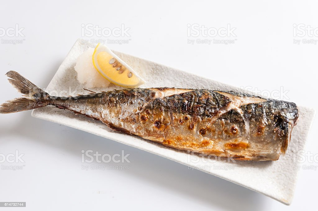 Grilled Mackerel,Japanese cuisine,kaiseki stock photo