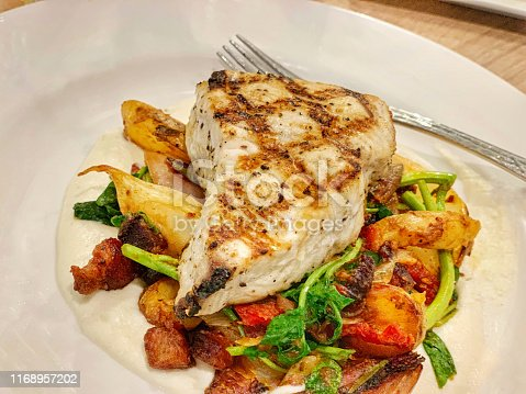 Grilled mako shark with a mix of vegetables