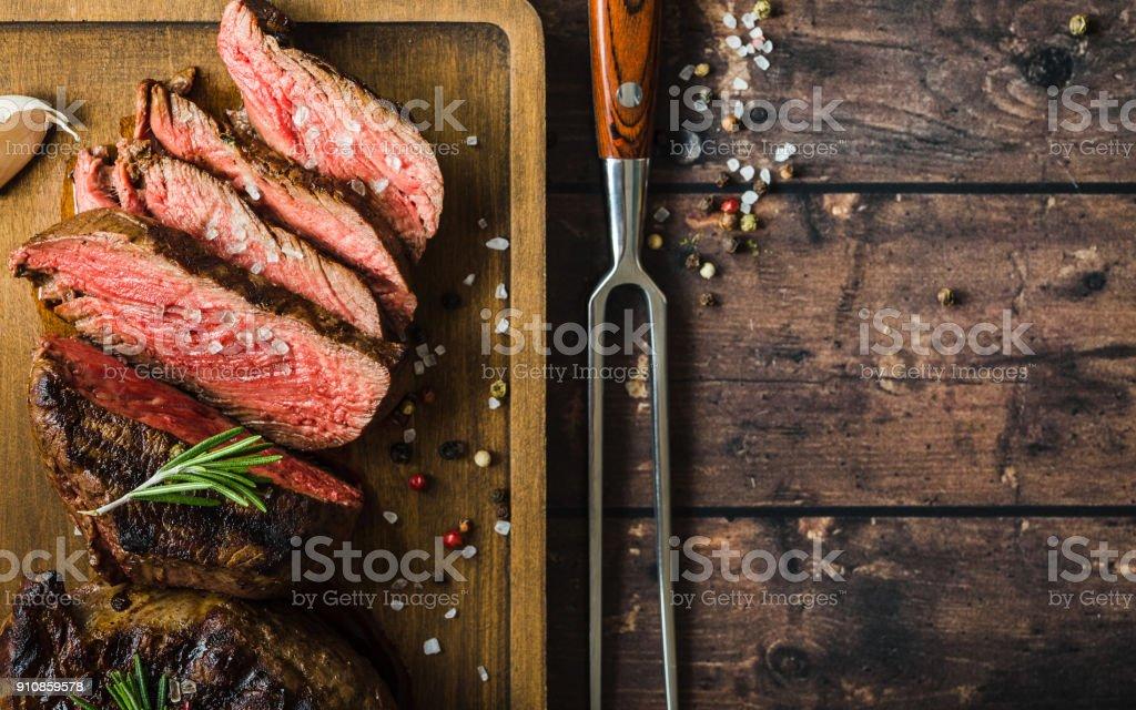 Marmoriertes Fleisch vom Grill steak - Lizenzfrei Banneranzeige Stock-Foto