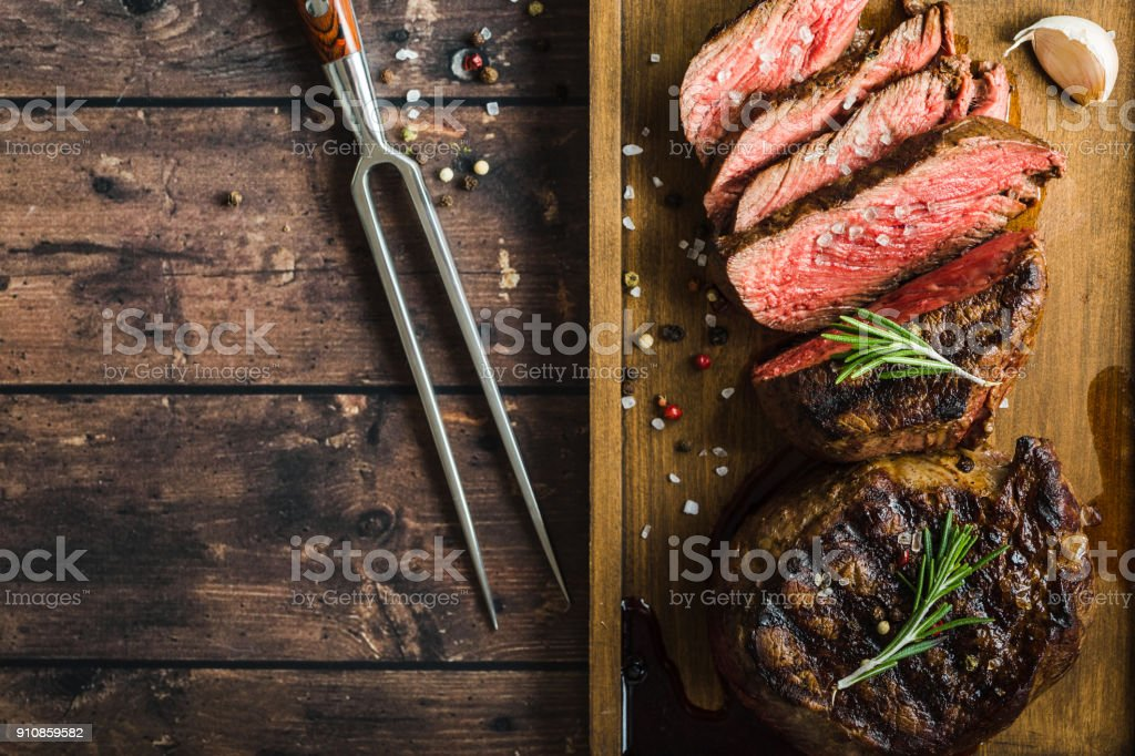Grilled marbled meat steak royalty-free stock photo