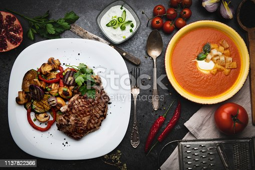 Barbecue grilled beef steak meat with salad