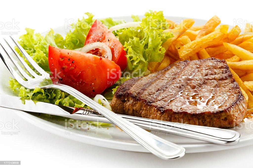 Gegrilltes Fleisch und Gemüse - Lizenzfrei Am Spieß gebraten Stock-Foto