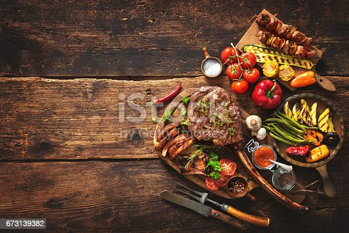 istock Grilled meat and vegetables 673139382
