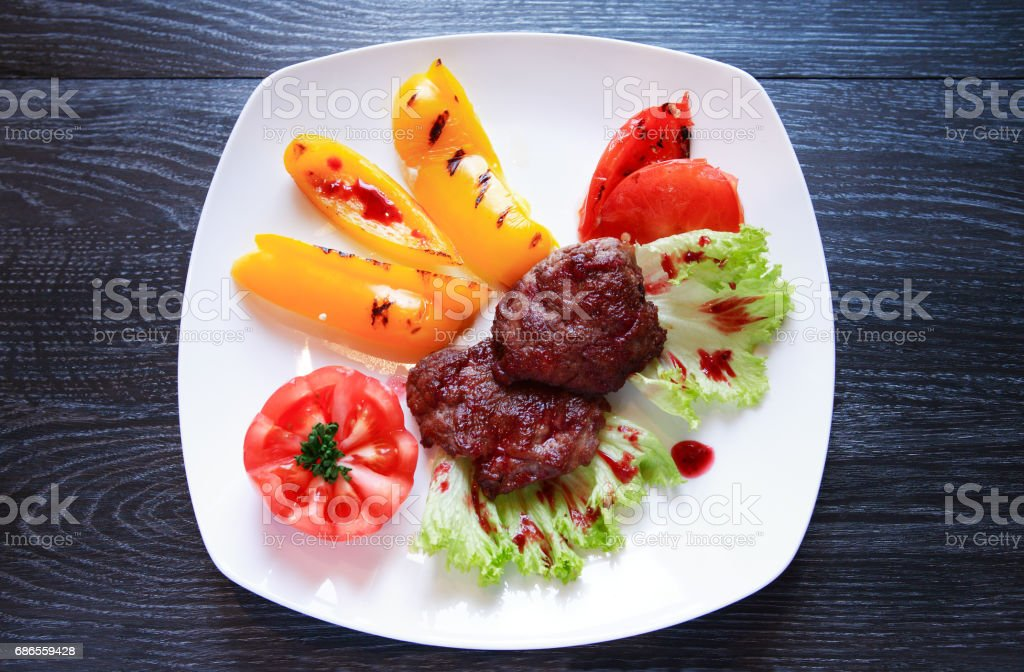 Grilled Meat And Vegetables royalty free stockfoto