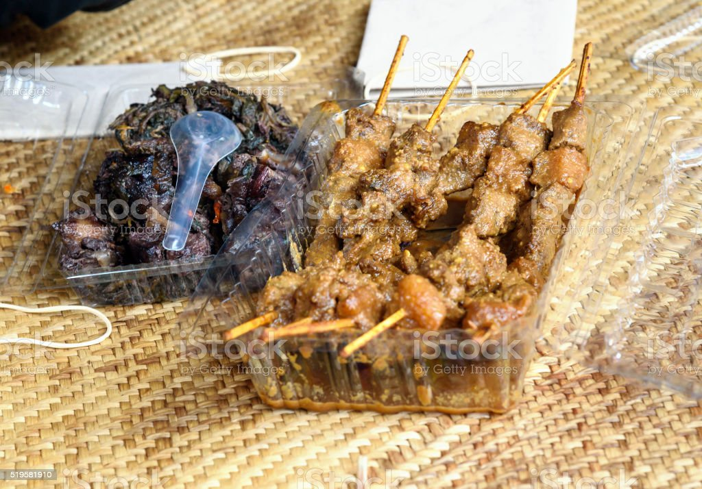 Grilled meat of pork at the funeral ceremony stock photo