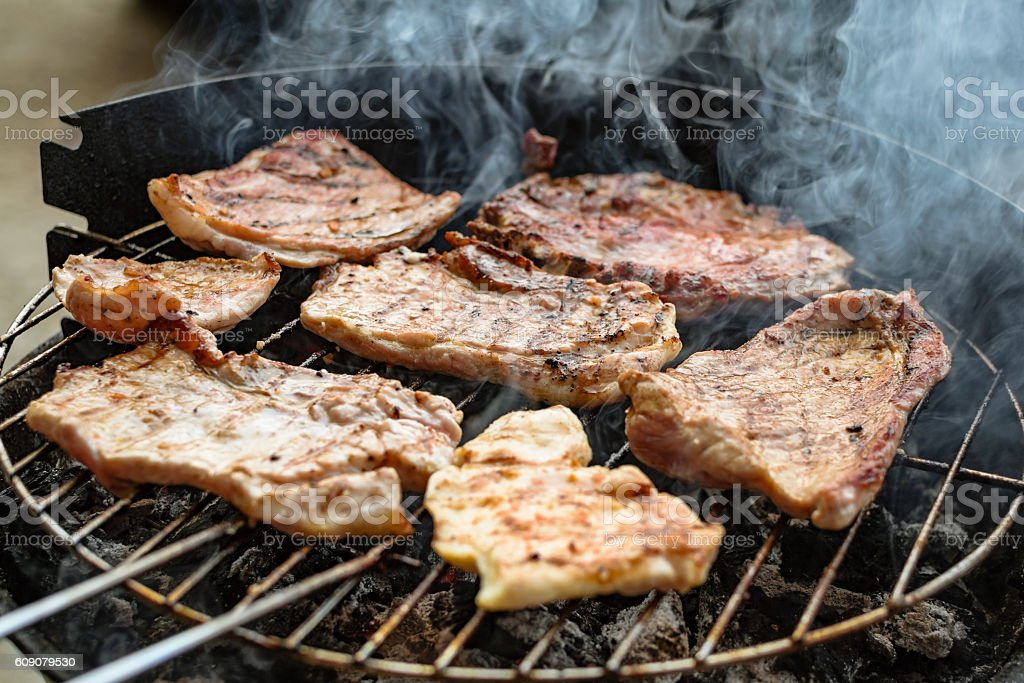 Grilled meat, pork, beef and chicken meat on barbecue, grill stock photo