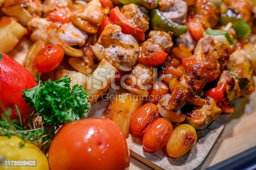 657146780istockphoto Grilled  meat skewers on the wood background. 1173559403