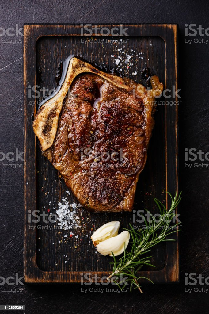 Grilled meat steak Blade on bone stock photo