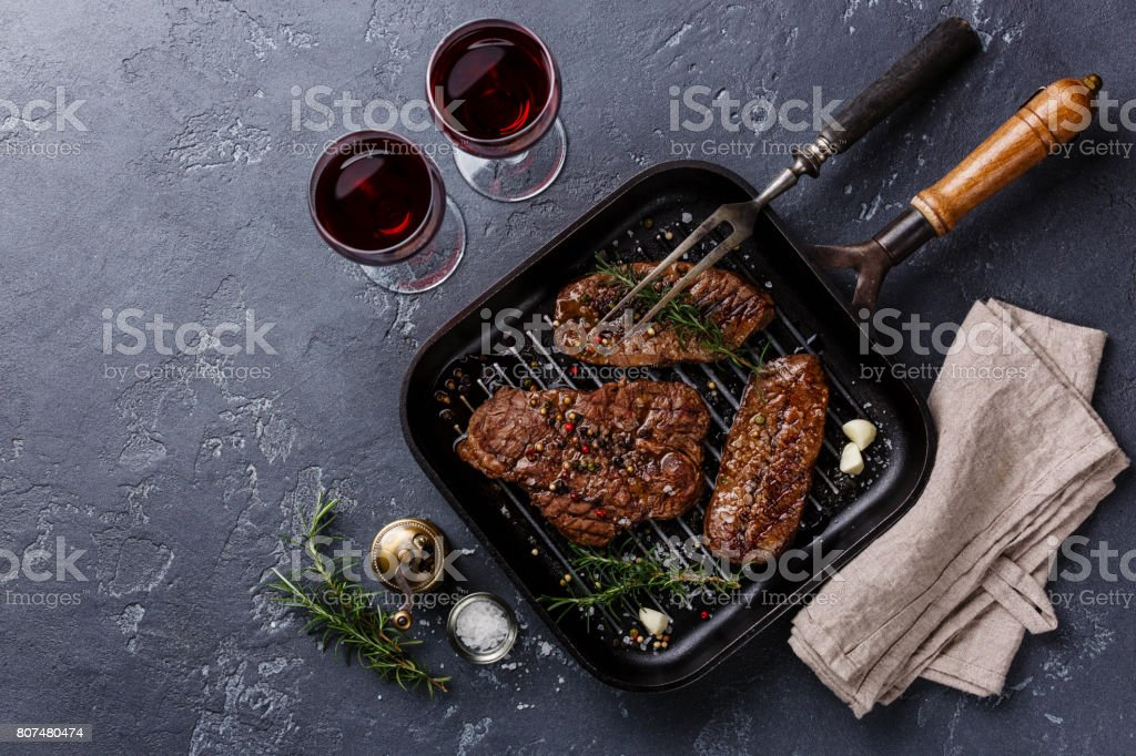 Grilled meat Top Blade steaks stock photo