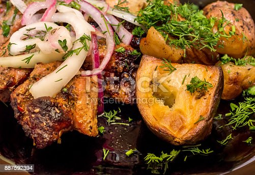 Grilled meat with frying potato on the plate.