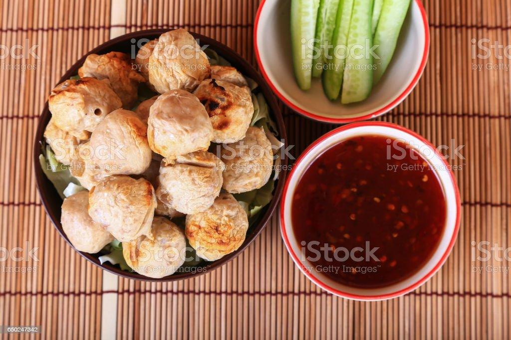 grilled meatball with spicy tamarind sauce  in bowl stock photo