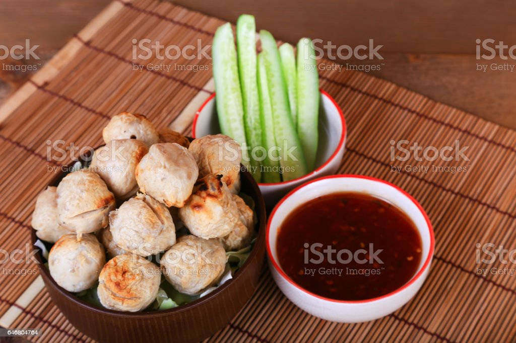 grilled meatball with spicy tamarind sauce stock photo